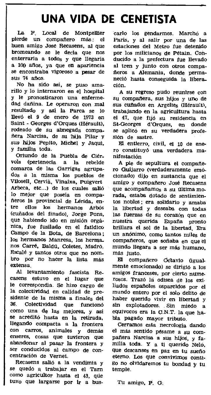 """Necrològica de Josep Recasens Fortit apareguda en el periòdic parisenc """"Le Combat Syndicaliste"""" del 8 de febrer de 1973"""
