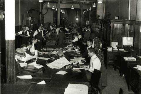 Redacció d'un diari als anys 30 del segle XX