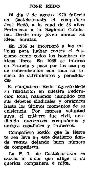 """Necrològica de Josep Redó Miralles apareguda en el periòdic tolosà """"Espoir"""" de l'1 de novembre de 1970"""