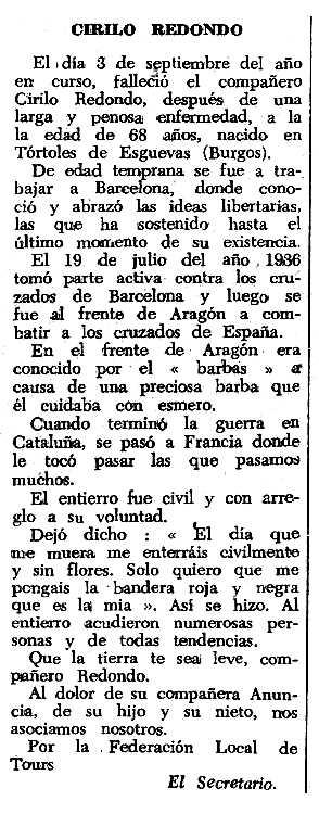 """Necrològica de Cirilo Redondo Marquina apareguda en el periòdic tolosà """"Espoir"""" del 26 de novembre de 1967"""