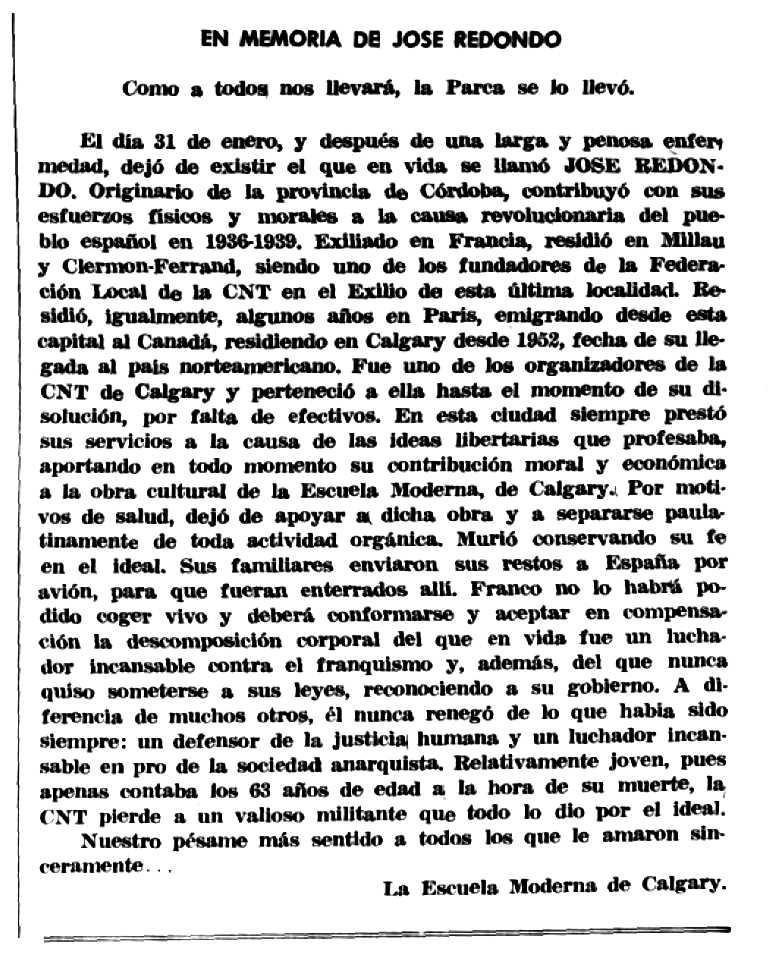 """Necrològica de José Redondo apareguda en el periòdic mexicà """"Tierra y Libertad"""" de març de 1973"""