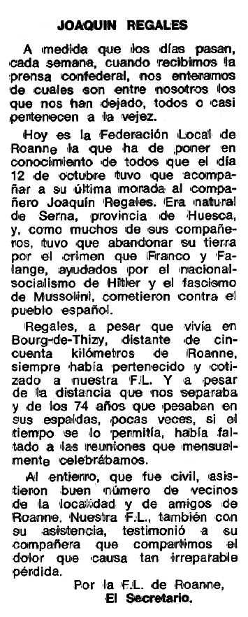 "Necrològica de Joaquín Regales Montull apareguda en el periòdic tolosà ""Espoir"" del 4 de desembre de 1978"
