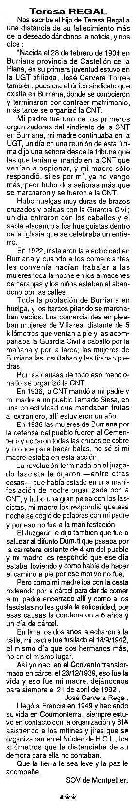 """Necrològica de Teresa Regal Bodí apareguda en el periòdic tolosà """"Cenit"""" del 15 de febrer de 1994"""