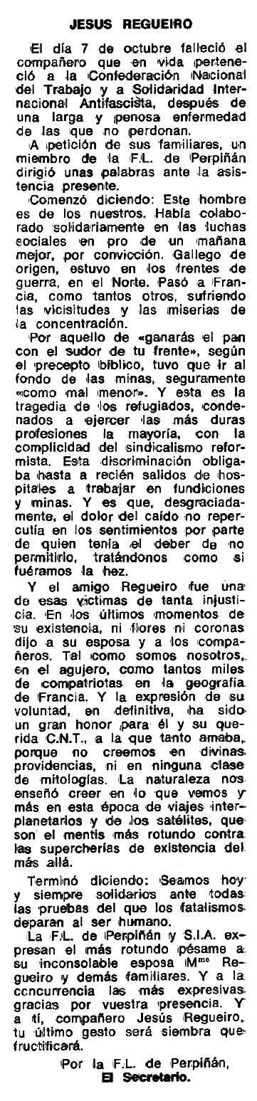 """Necrològica de Jesús Regueiro apareguda en el periòdic tolosà """"Espoir"""" del 31 de novembre de 1978"""