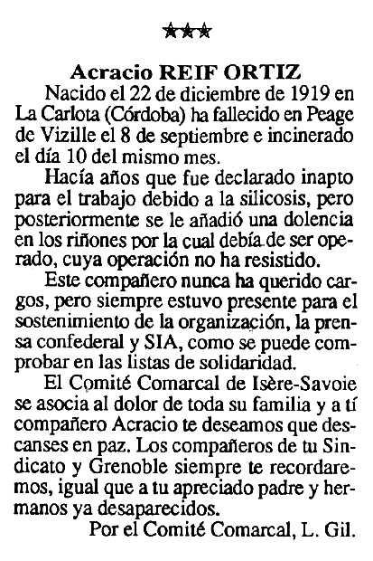 "Necrològica d'Acracio Reif Ortiz apareguda en el periòdic tolosà ""Cenit"" del 13 d'octubre de 1992"