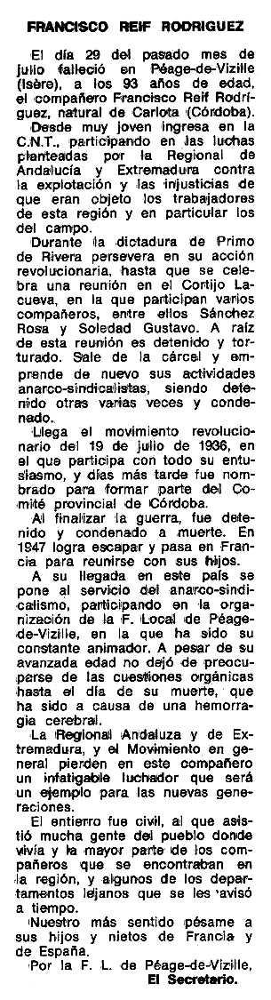 """Necrològica apareguda en el periòdic tolosà """"Espoir"""" del 26 de setembre de 1976"""