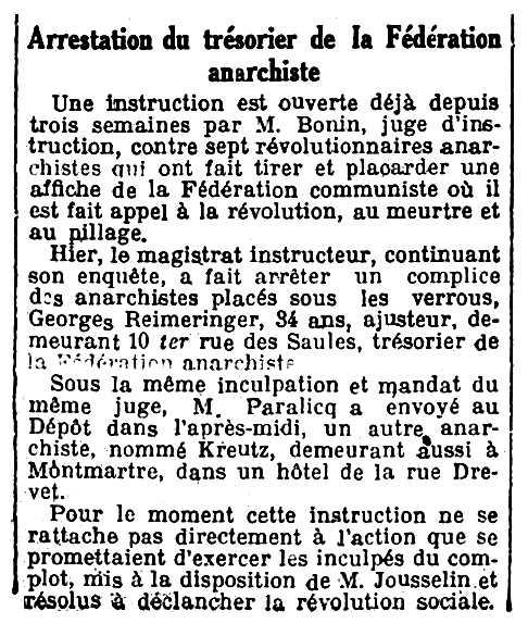 """Notícia sobre la detenció de Georges Reimeringer apareguda en el diari parisenc """"Le Petit Journal"""" del 10 de juny de 1920"""