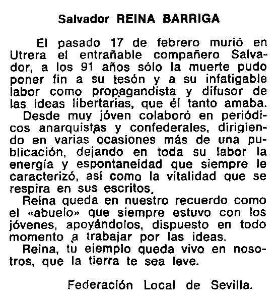 """Necrològica de Salvador Reina Barriga apareguda en el periòdic tolosà """"Cenit"""" de l'11 de juny de 1985"""