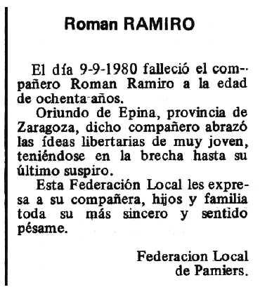 """Necrològica de Román Remiro Épila apareguda en el periòdic tolosà """"Espoir"""" del 26 d'octubre de 1980"""
