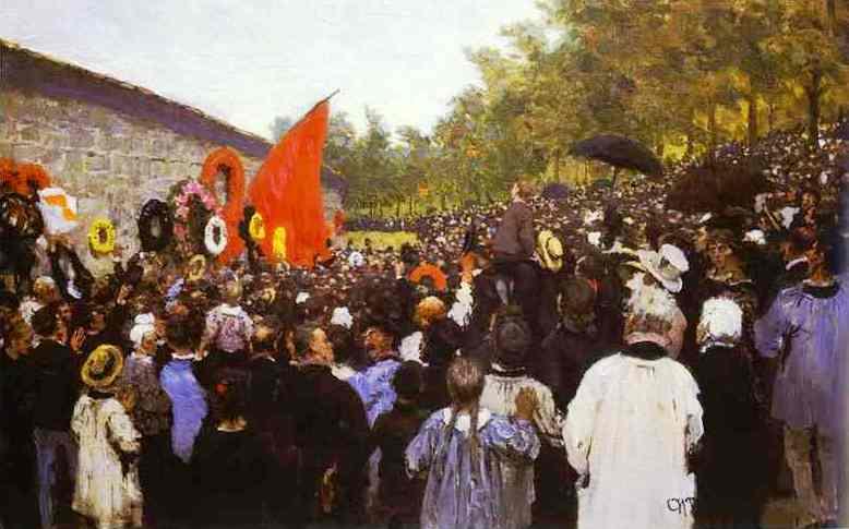 """Ilya Repin: """"Míting anual en memòria de la Comuna al Mur dels Federats al cementiri de Père-Lachaise de París"""" (1883) - Galeria Tretyakov (Moscou)"""