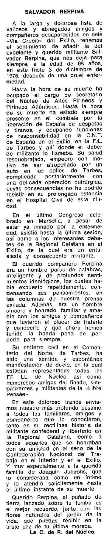 """Necrològica de Salvador Rerpina Villosa apareguda en el periòdic tolosà """"Espoir"""" del 15 de febrer de 1976"""