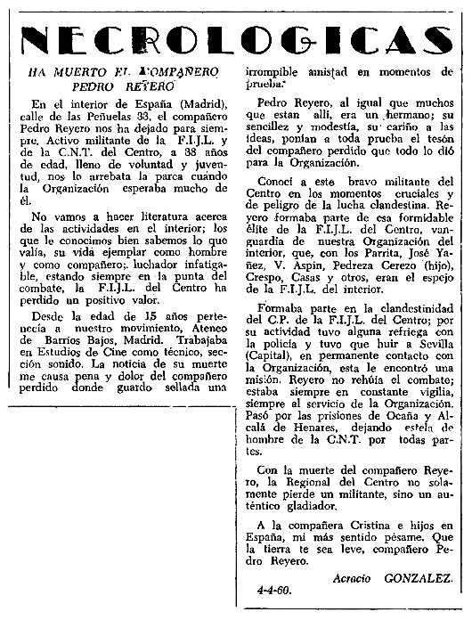 "Necrològica de Pedro Reyero Carreño apareguda en el periòdic tolosà ""CNT"" del 24 d'abril de 1960"
