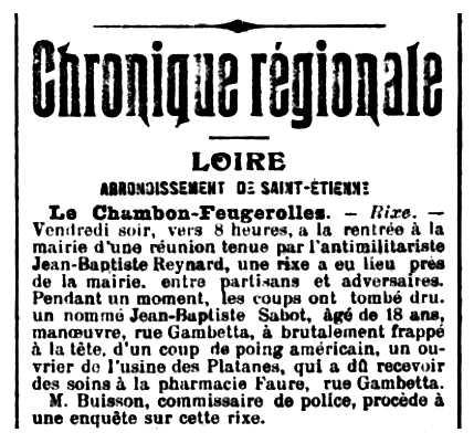 "Notícia de la baralla de Jean-Baptiste Reynard publicada en el diari de Saint-Étienne ""Mémorial de la Loire et de la Haute Loire"" del 20 de maig de 1906"