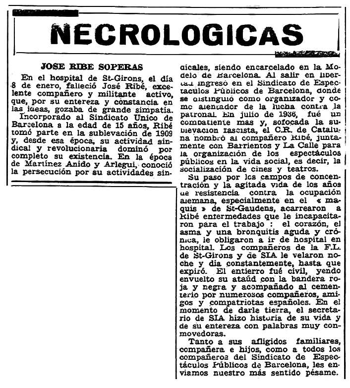 """Necrològica de Josep Ribé Soperas apareguda en el periòdic parisenc """"Solidaridad Obrera"""" de l'11 de febrer de 1954"""