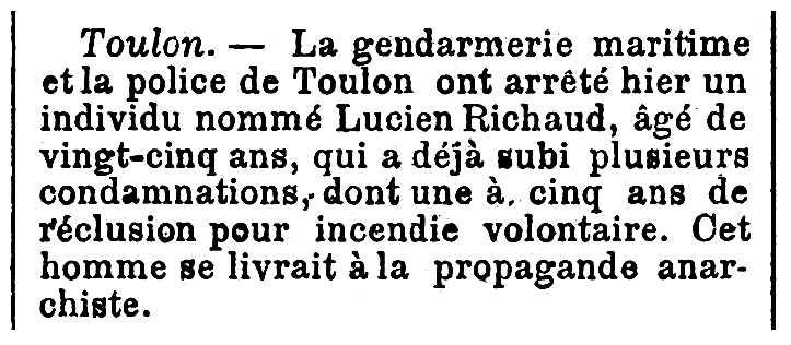 """Notícia de la detenció de Lucien Richaud apareguda en el diari parisenc """"L'Univers"""" del 14 d'abril de 1897"""