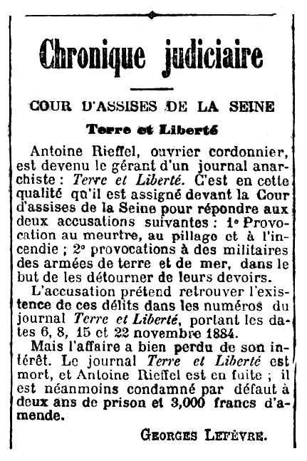 """Notícia sobre la condemna d'Antoine Rieffel publicada en el diari parisenc """"Le Radical"""" del 16 d'abril de 1888"""