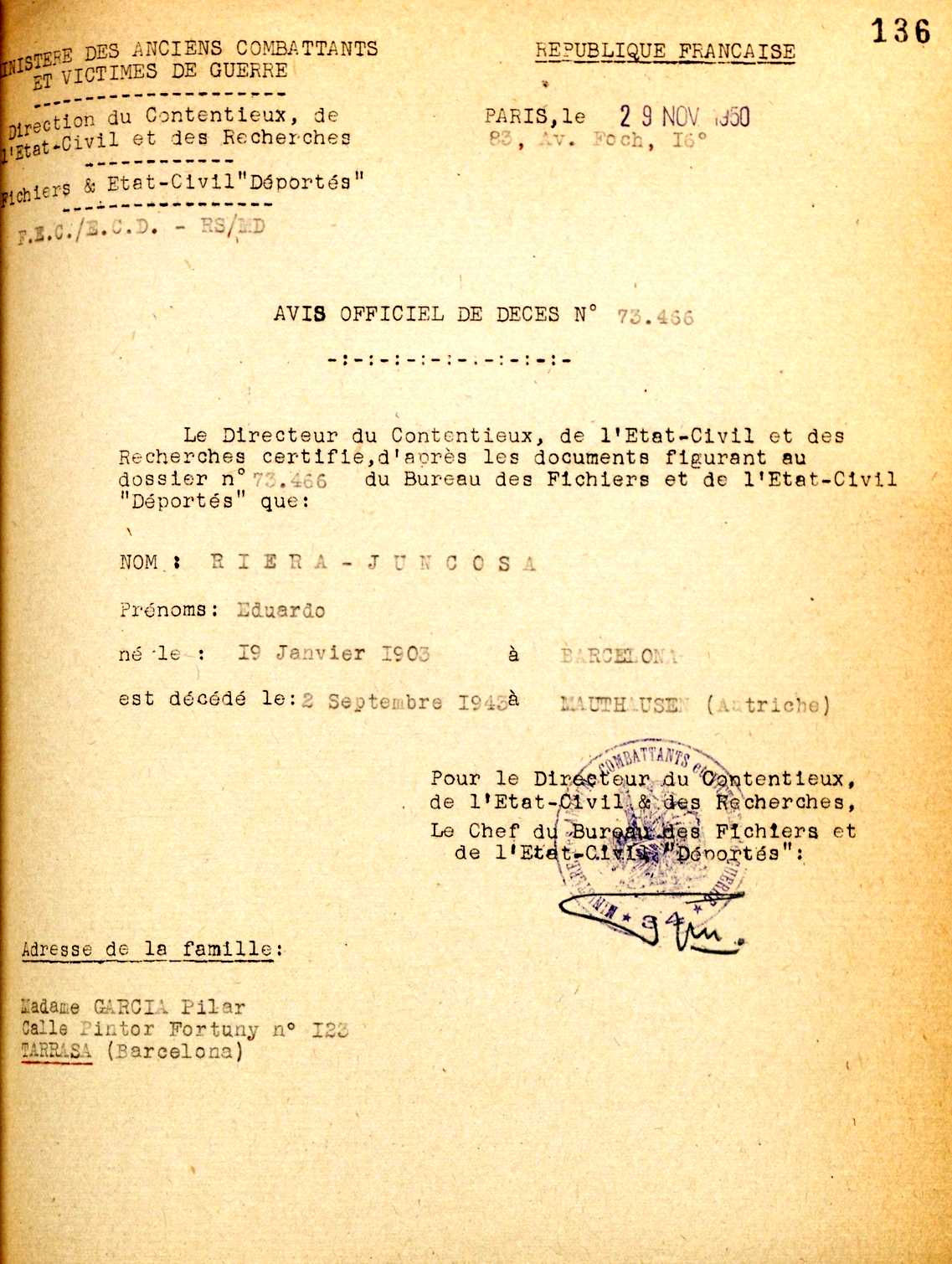 Certificat de defunció d'Eduard Riera Juncosa del registre de deportats
