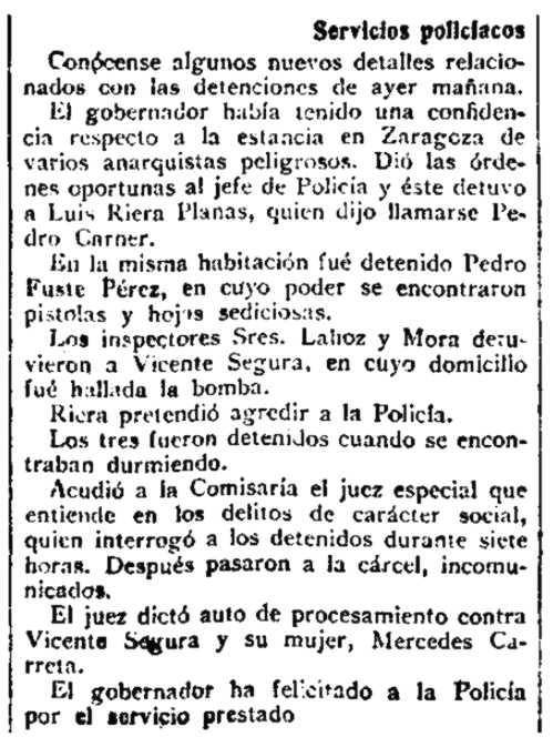 """Notícia de la detenció de Lluís Riera Planas apareguda en el periòdic madrileny """"La Correspondencia de España"""" del 10 de setembre de 1920"""