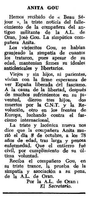 "Necrològica d'Anna Rigall Oliveras apareguda en el periòdic tolosà ""Espoir"" del 2 de gener de 1966"