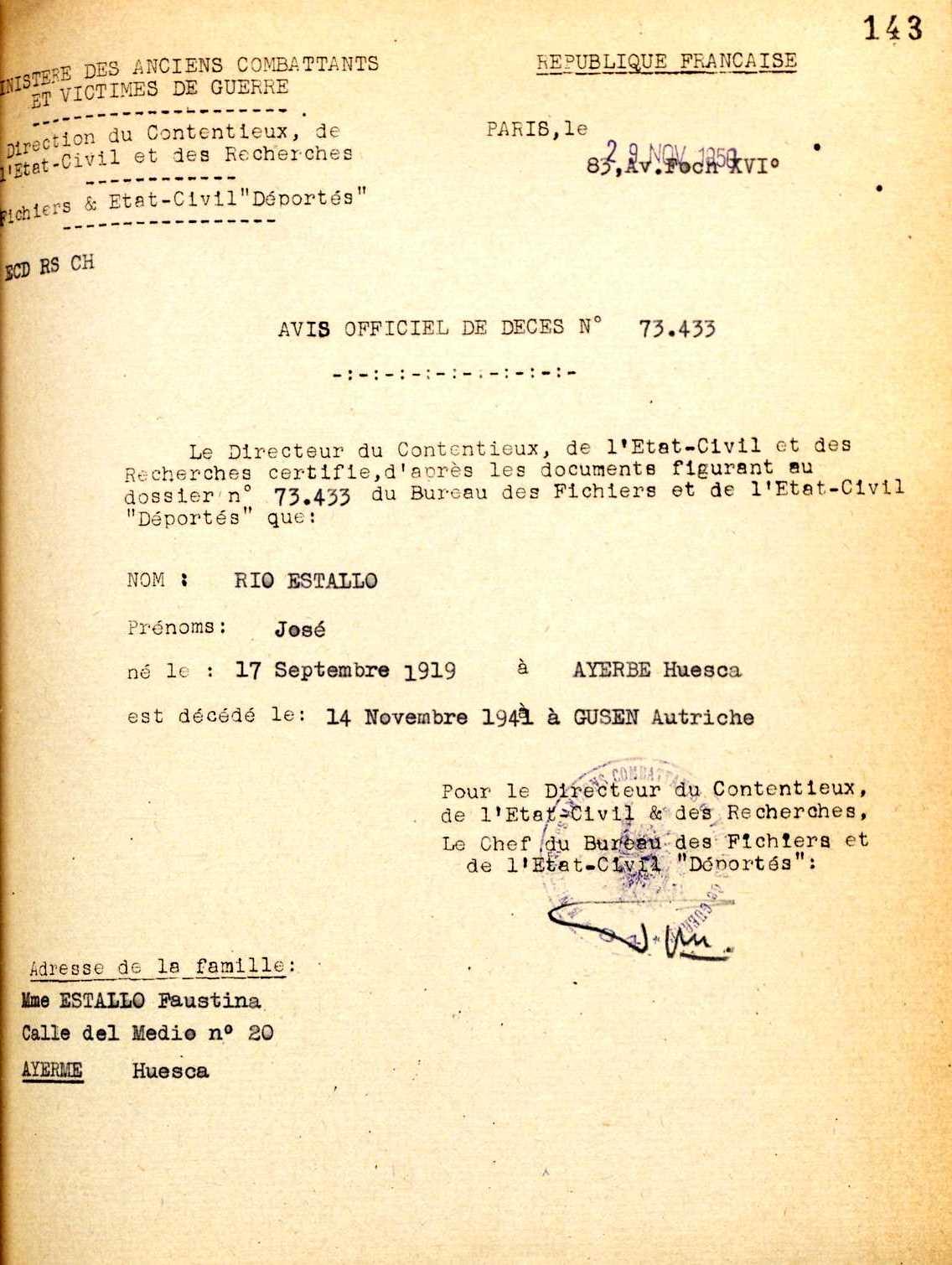Registre de defunció de José Río Estallo