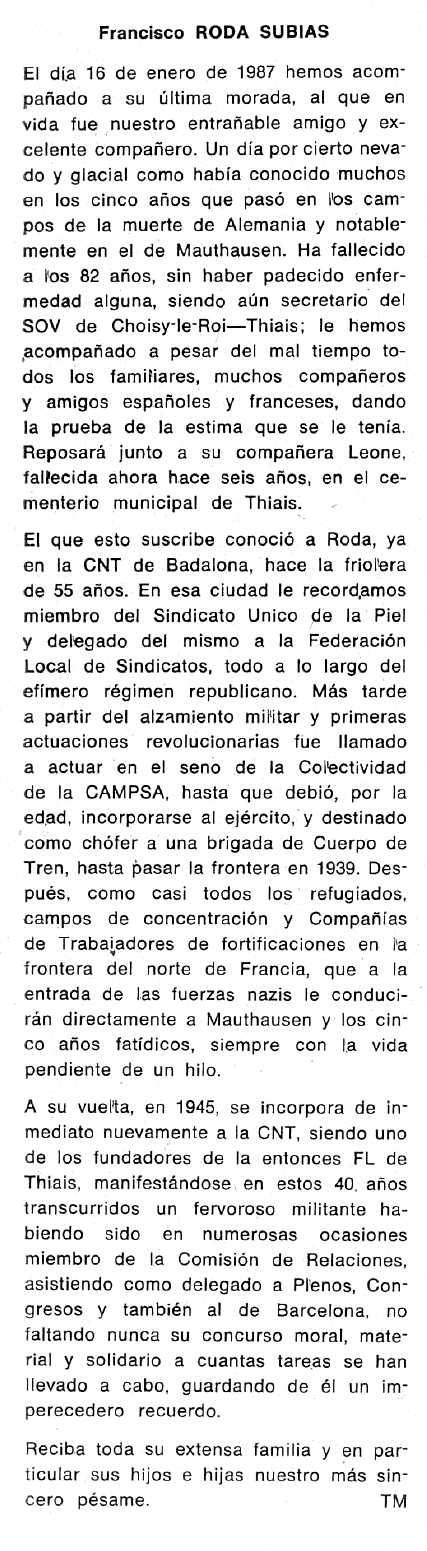 "Necrològica de Francesc Roda Subías apareguda en el periòdic tolosà ""Cenit"" del 10 de febrer de 1987"