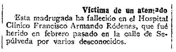 """Necrològica de Francisco Armando Ródenas Villalba apareguda en el diari madrileny """"La Correspondencia de España"""" del 22 d'abril de 1921"""