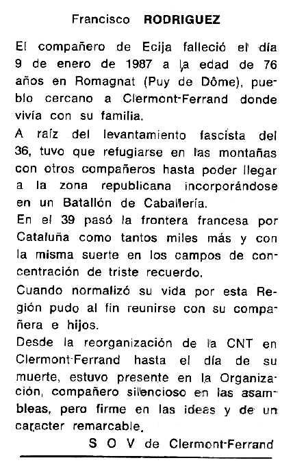"Necrològica de Francisco Rodríguez Caro apareguda en el periòdic tolosà ""Cenit"" de l'1 de maig de 1987"
