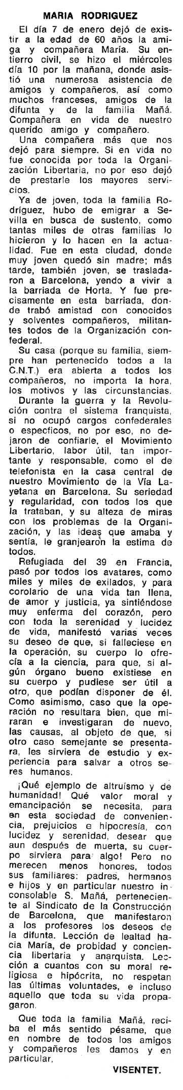 """Necrològica de María Rodríguez apareguda en el periòdic tolosà """"Espoir"""" de l'1 d'abril de 1973"""