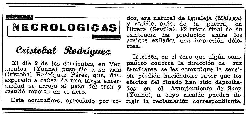 "Necrològica de Cristóbal Rodríguez Pérez apareguda en el periòdic parisenc ""Solidaridad Obrera"" del 23 de maig de 1953"