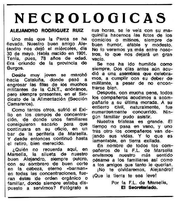 """Necrològica d'Alejandro Rodríguez Ruiz apareguda en el periòdic tolosà """"Espoir"""" del 25 de juny de 1979"""
