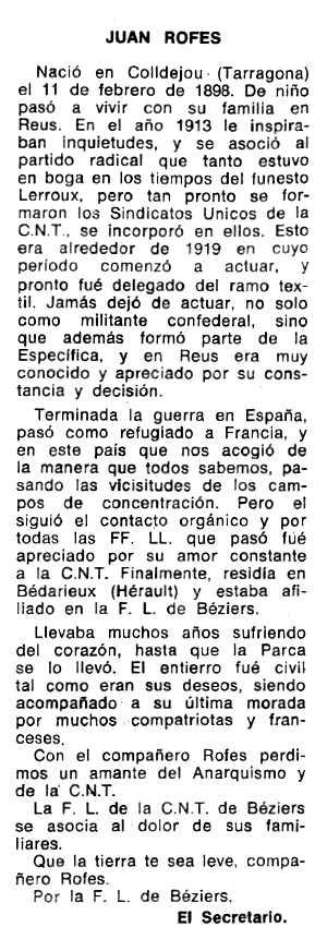 """Necrològica de Joan Rofes Llorens apareguda en el periòdic tolosà """"Espoir"""" del 30 de juny de 1974"""
