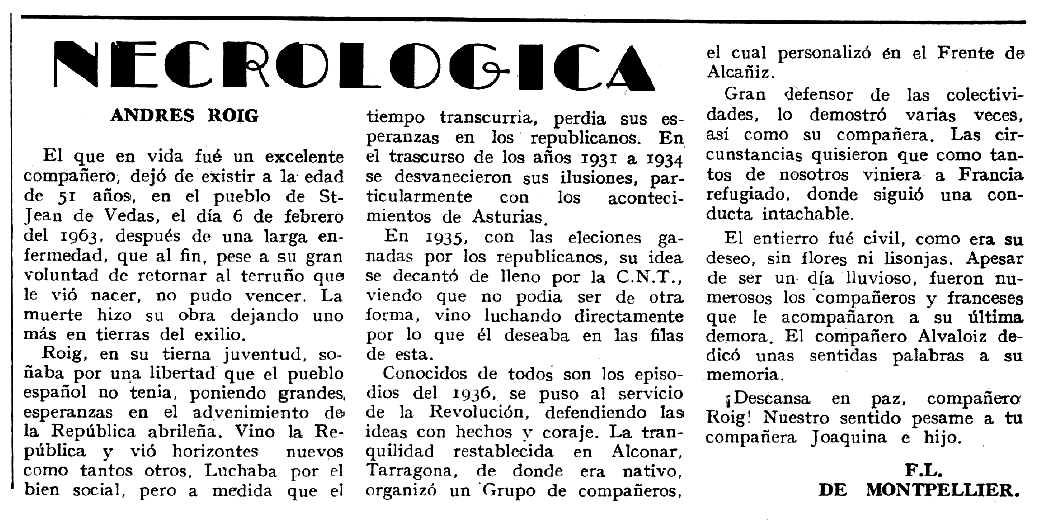 """Necrològica d'Andreu Roig Bort apareguda en el periòdic tolosà """"Espoir"""" del 9 de juny de 1963"""