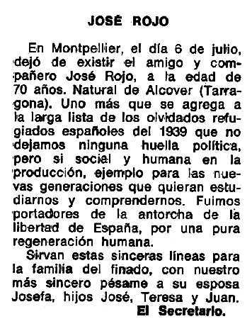 "Necrològica de Josep Rojo Pegueroles apareguda en el periòdic parisenc ""Le Combat Syndicaliste"" del 9 d'octubre de 1975"