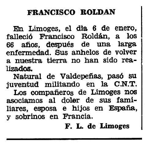 """Necrològica de Francisco Roldán Toledo apareguda en el periòdic tolosà """"Espoir"""" del 10 de març de 1963"""
