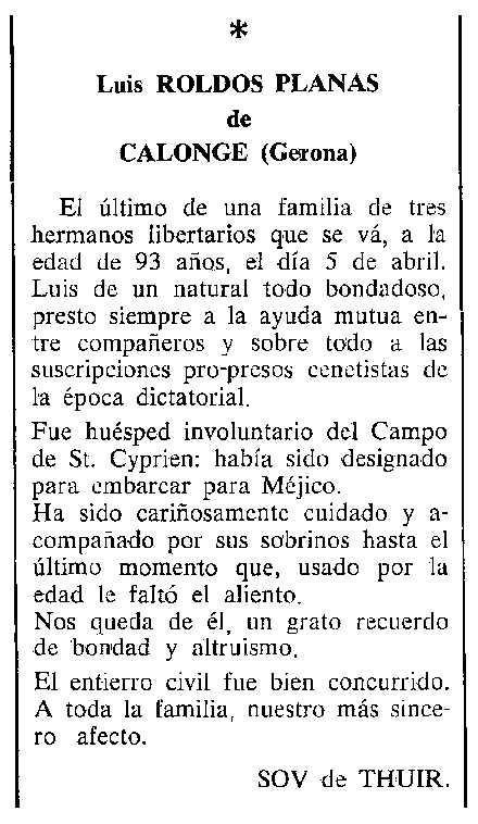 "Necrològica de Lluís Roldós Planas apareguda en el periòdic tolosà ""Cenit"" del 24 d'octubre de 1989"