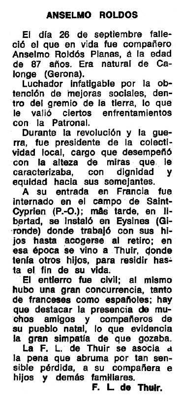 """Necrològica d'Anselm Roldós Planas publicada en el periòdic tolosà """"Espoir"""" del 23 de desembre de 1973"""
