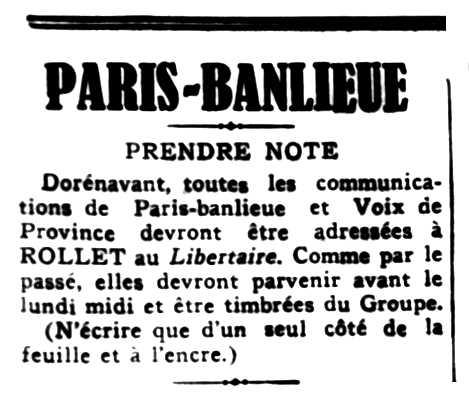 """Notícia orgànica de Gilbert Rollet apareguda en el periòdic parisenc """"Le Libertaire"""" del 18 de novembre de 1937"""