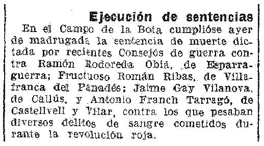 """Notícia de l'execució de Fructuoso Román Ribas apareguda en el diari barcelonès """"La Vanguardia"""" del 18 de març de 1943"""