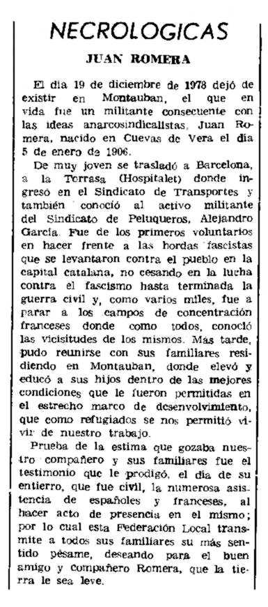 "Necrològica de Juan Romera apareguda en el periòdic parisenc ""Le Combat Syndicaliste"" del 15 de març de 1979"