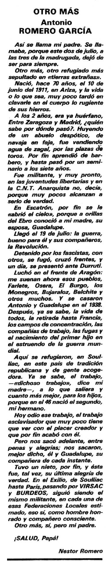 """Necrològica d'Antonio Romero García publicada en el periòdic tolosà """"Espoir"""" del 26 de juliol de 1981"""