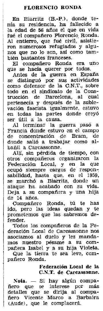 """Necrològica de Florencio Ronda Gárate apareguda en el periòdic tolosà """"Espoir"""" del 14 d'octubre de 1962"""