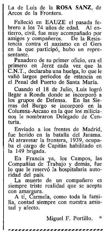 """Necrològica de Luis de la Rosa Sanz apareguda en el periòdic tolosà """"Cenit"""" del 17 d'abril de 1984"""