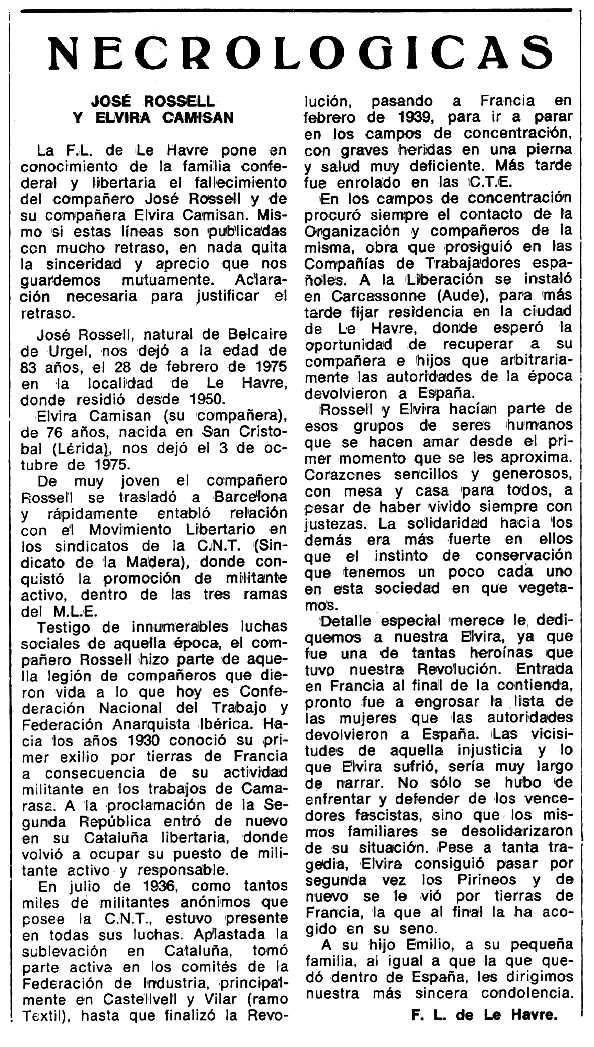 """Necrològiques de Josep Rosell Solé i d'Elvira Gamisans apararegudes en el periòdic tolosà """"Espoir"""" del 9 de maig de 1976"""