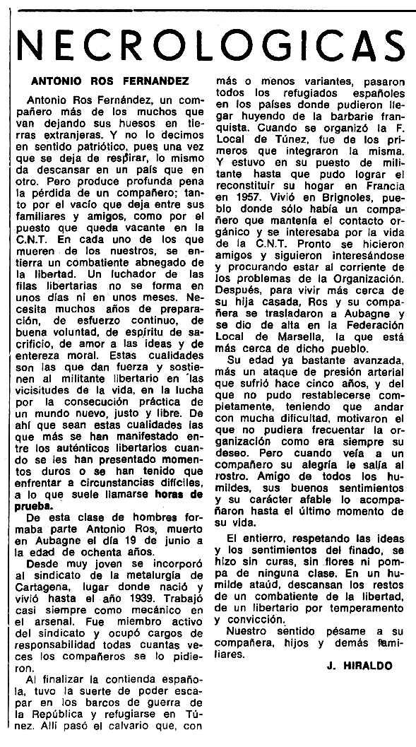 """Necrològica d'Antonio Ros Fernández apareguda en el periòdic tolosà """"Espoir"""" del 27 d'octubre de 1974"""