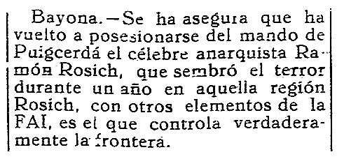 "Notícia sobre Ramon Rosich Armora apareguda en el periòdic falangista de Soria ""Labor"" del 19 de maig de 1938"