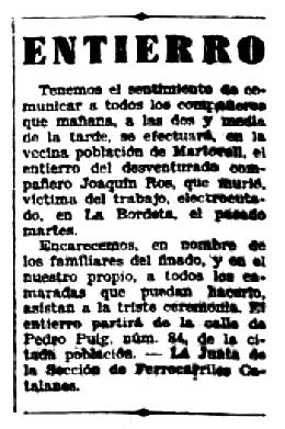"""Necrològica de Joaquim Ros apareguda en el periòdic barcelonès """"Solidaridad Obrera"""" aparegut el 8 de setembre de 1932"""