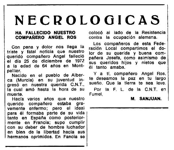"""Necrològica d'Ángel Ros López apareguda en el periòdic tolosà """"Espoir"""" de l'11 de març de 1973"""