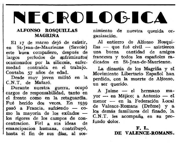 """Necrològica d'Alfons Rosquillas Magriñà apareguda en el periòdic tolosà """"Espoir"""" del 15 de maig de 1963"""