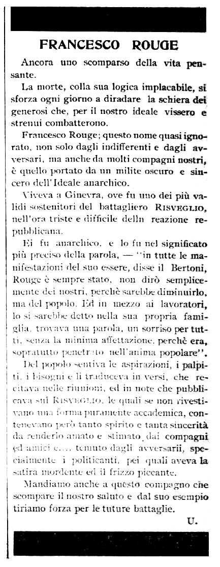 "Necrològica de François Rouge apareguda en el periòdic nord-americà ""Cronaca Sovversiva"" de l'1 d'abril de 1905"