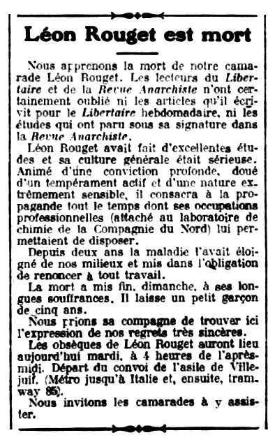 """Necrològica de Léon Rouget apareguda en el periòdic parisenc """"Le Libertaire"""" del 3 de febrer de 1925"""